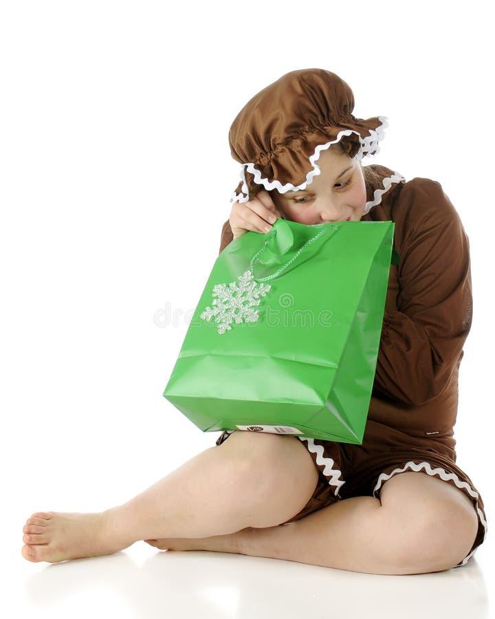 Peeking Gingerbread Girl royalty free stock image