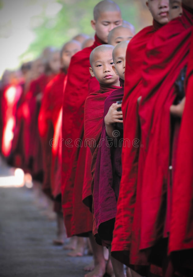 Free Peeking Monk, Myanmar, (burma) Royalty Free Stock Images - 13257329