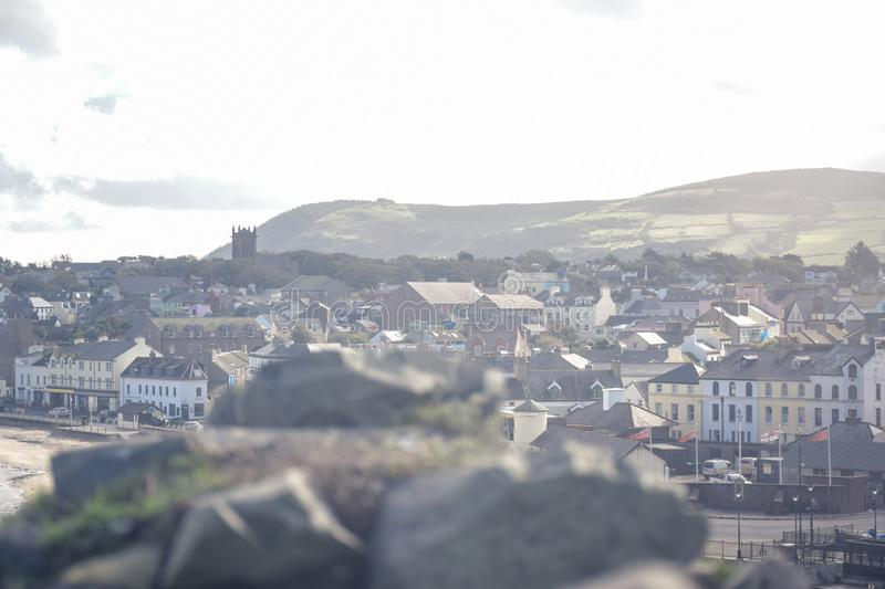 Peel city landscape view, Isle of Man stock photo