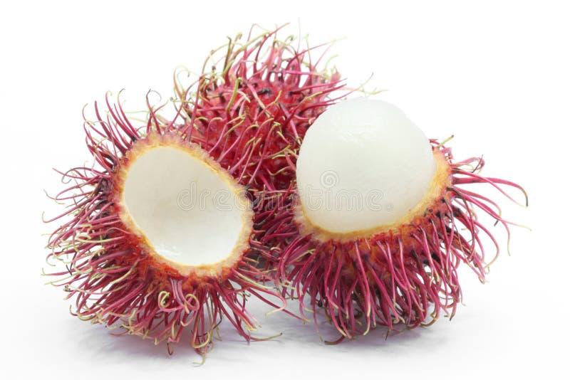 Peel rambutan. Fresh peel tropical rambutan fruit on white background stock photo