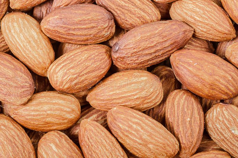Peeled almonds as background. royalty free stock image