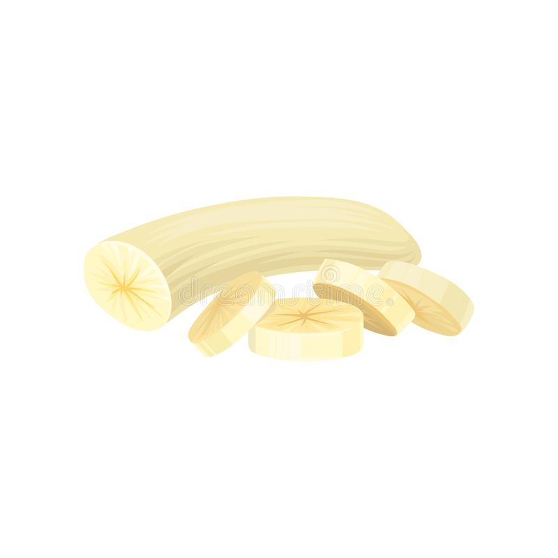 Peeled banana with four sliced pieces. Graphic design element for cafe menu, products packaging or promo poster. Food. One peeled banana with four sliced pieces royalty free illustration