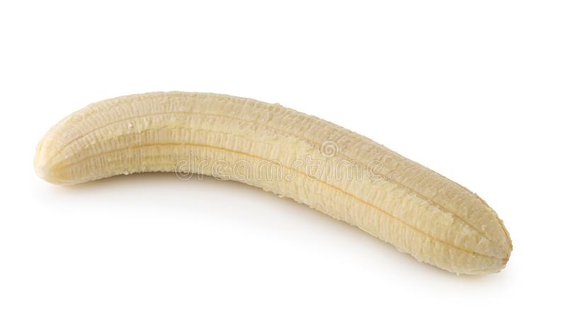Peeled banana slices isolated over a white background stock photos