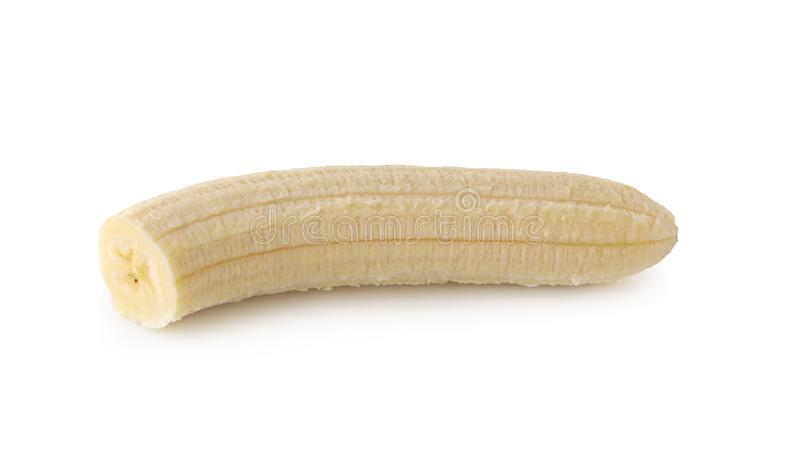 Peeled banana slices isolated over a white background. Peeled banana slices isolated on a white background, bright, circle, clipping, closeup, cut, delicious stock images