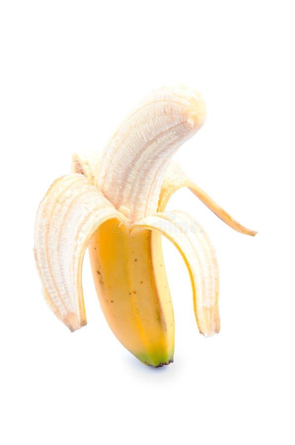 Peeled canary banana stock photo