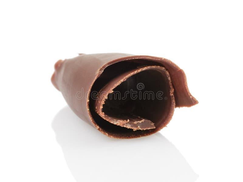 Peeled chocolate curl stock photo