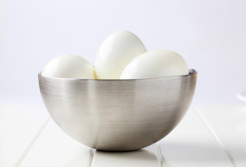Peeled hard boiled eggs royalty free stock photography