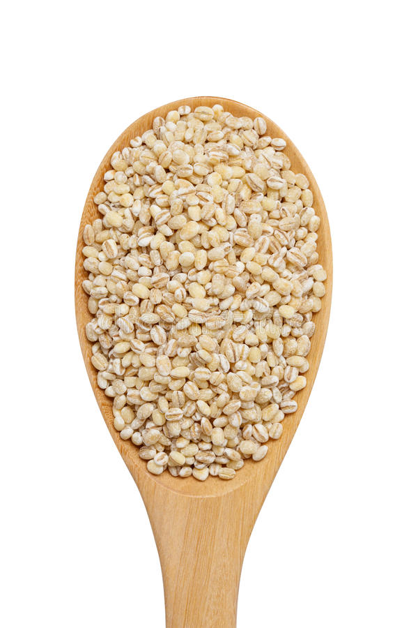 Peeled pearl barley grain in wooden spoon isolated on white back stock photo