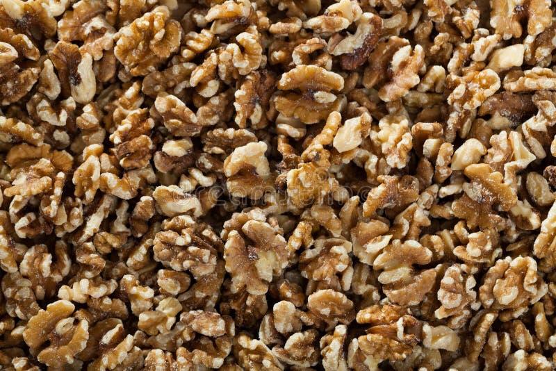 Peeled walnuts background stock photo