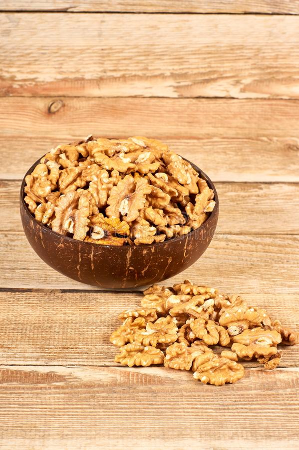 Peeled walnuts royalty free stock images