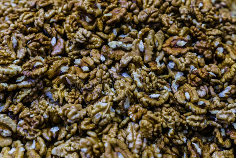 Peeled walnuts. View from above. Organic food stock image