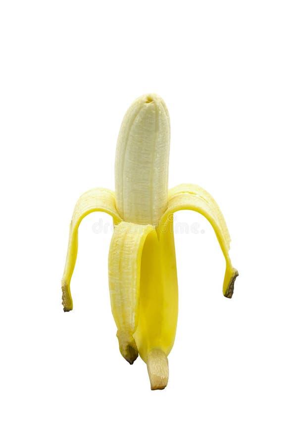 Peeled yellow ripe banana, Open banana isolated on a white background royalty free stock photo