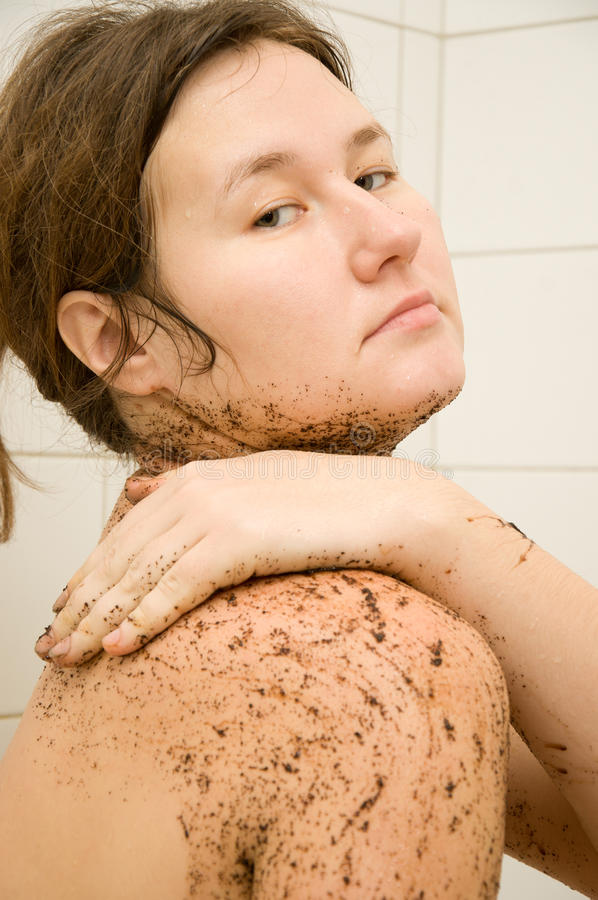 Peeling. Coffee scrub for peeling skin royalty free stock photography