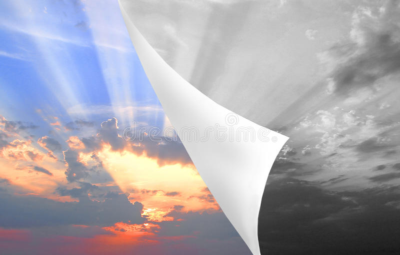 Peeling back grey skies. Photo of grey skies being peeled back to reveal bright sunburst sky underneath...depicting brighter future,hope etc vector illustration