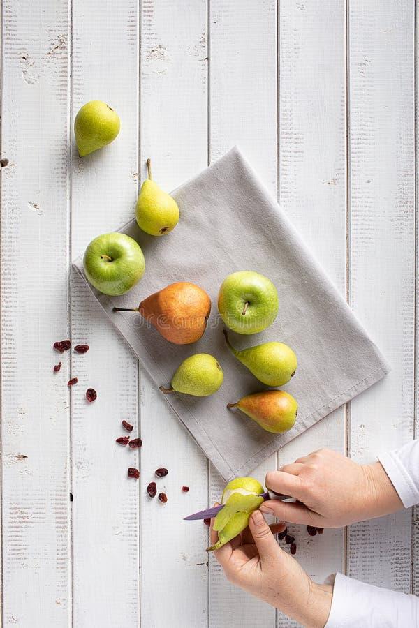 Peeling Pears royalty free stock image