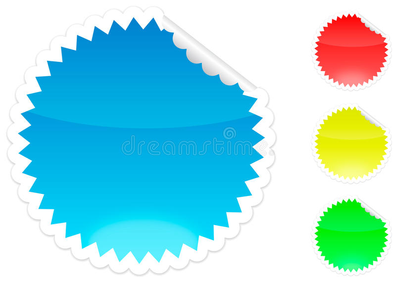 Peeling sticker blue, red, yellow and green royalty free illustration