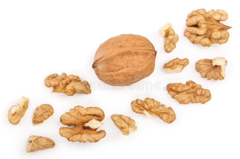Peelled Walnuts isolated on white background with copy space for your text. Top view. Flat lay.  royalty free illustration