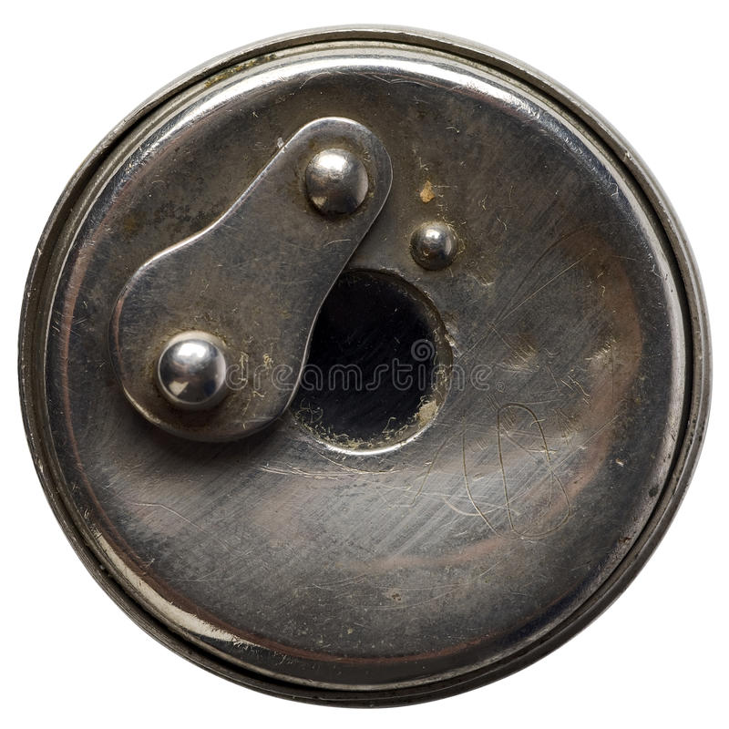 Peephole. A metal peephole on white stock image