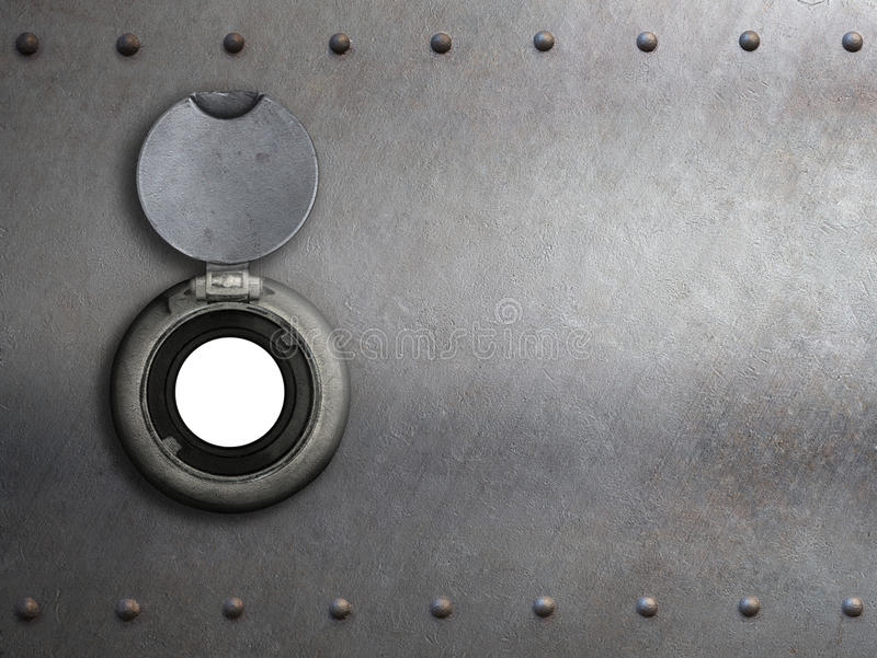 Peephole on metal armored door. Closeup stock images