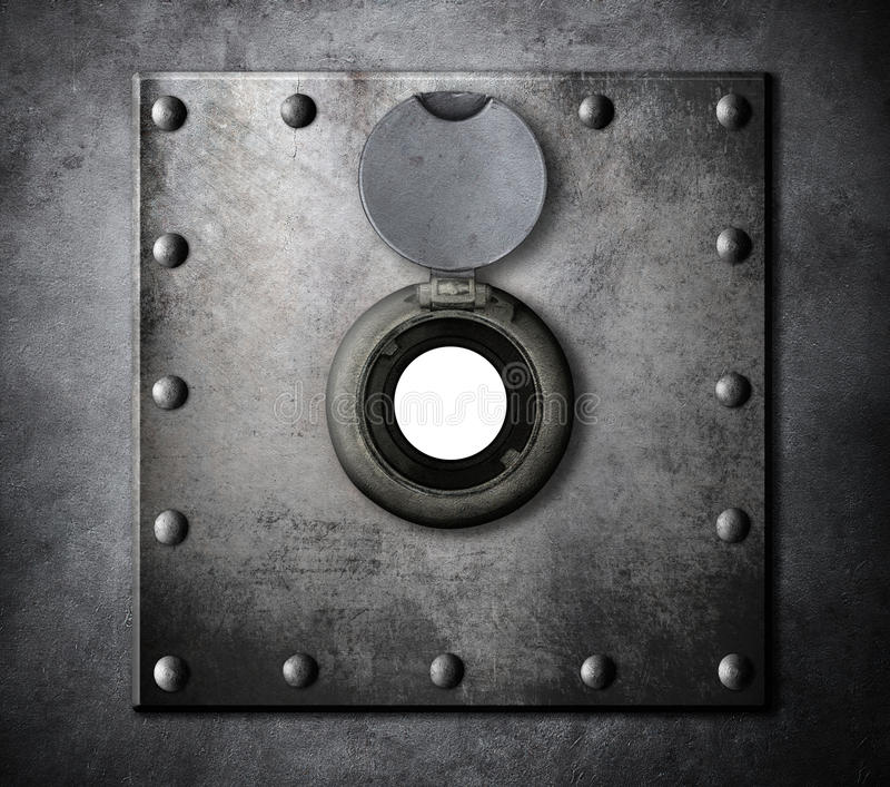 Peephole or peep hole in metal armored door. Closeup stock photography