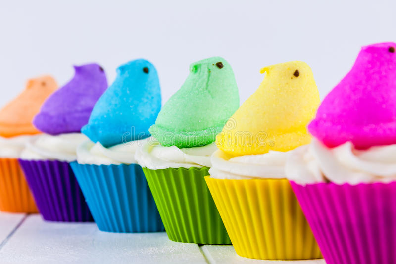 Peeps Easter Cupcakes stock photos