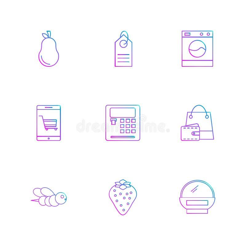 peer, calculator, Web, bij, het winkelen zak, vruchten, technolo royalty-vrije illustratie