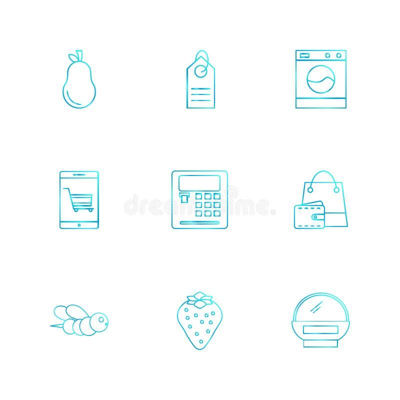 peer, calculator, Web, bij, het winkelen zak, vruchten, technolo stock illustratie
