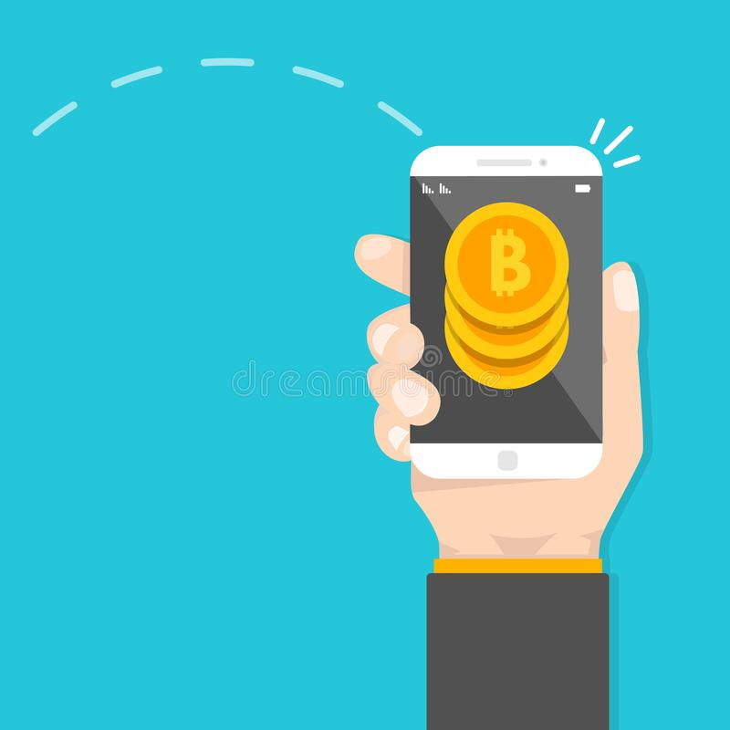 Peer to peer payments. Smartphone transfer money. Cryptocurrency Transaction. stock illustration