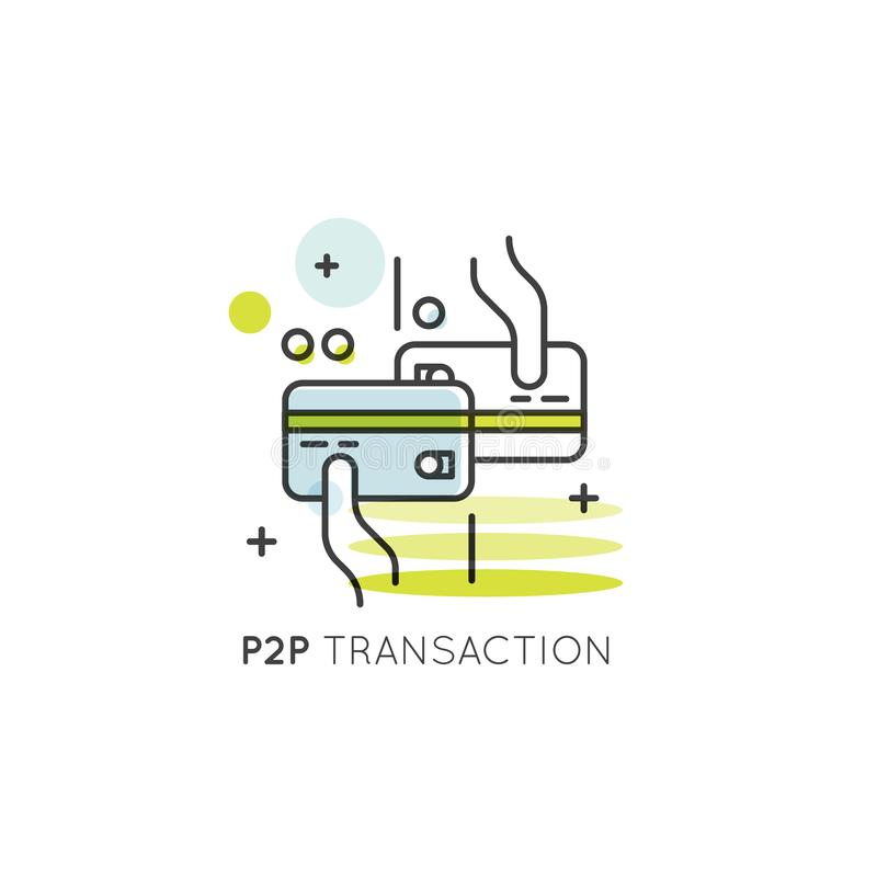 Peer-to-Peer Transaction, Mobile and Desktop Application Development, Direct Transaction of Funds and Money stock illustration