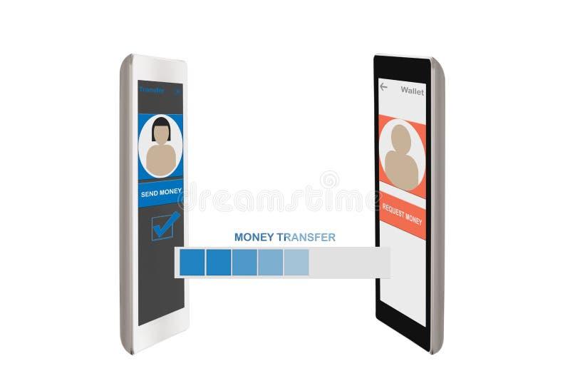 Peer to peer transfer money stock illustration