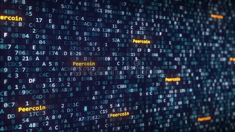 Peercoin captions appearing among changing hexadecimal symbols on a computer screen. 3D rendering. Peercoin captions appearing among changing hexadecimal symbols royalty free illustration