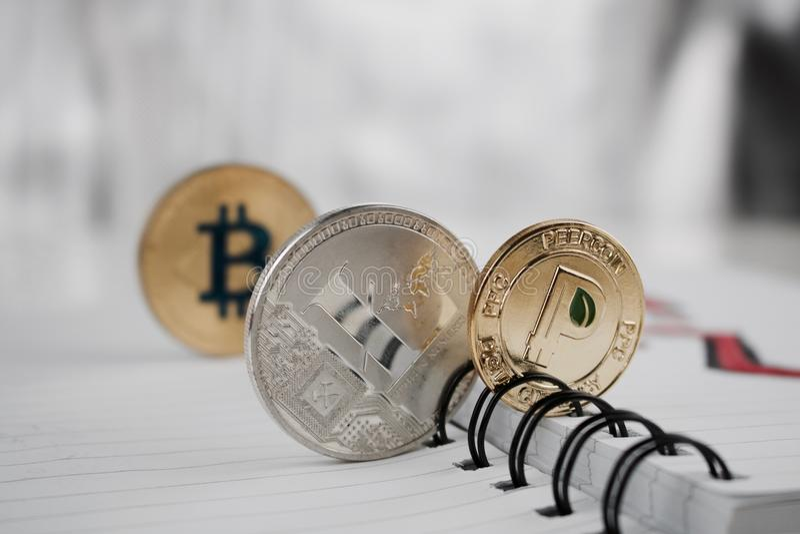 Peercoin Litecoin Bitcoin fotografia stock