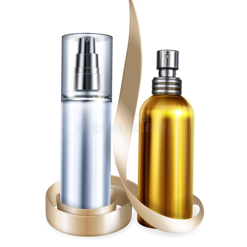 Pefume och illustration för vektor för krämflaskor 3D stock illustrationer