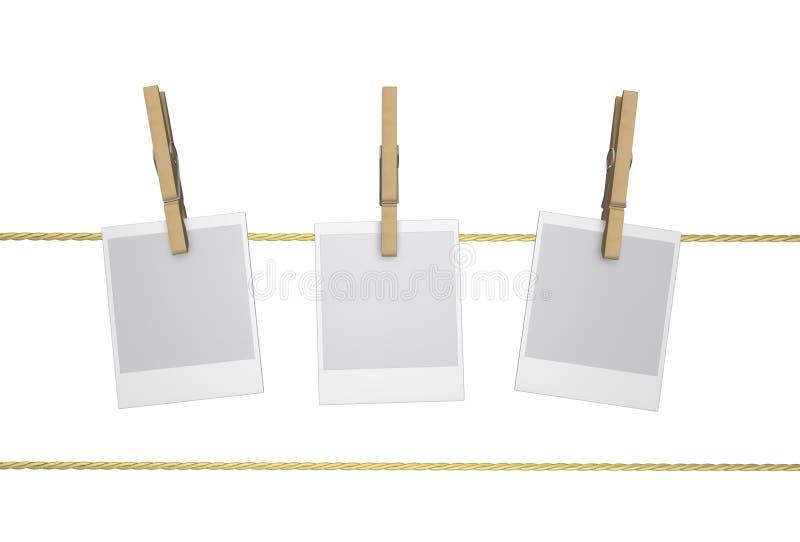 Peg - Clothespin de madeira e Polaroid, isolados ilustração do vetor