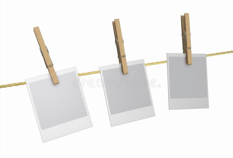 Peg - Clothespin de madeira e Polaroid, isolados ilustração stock