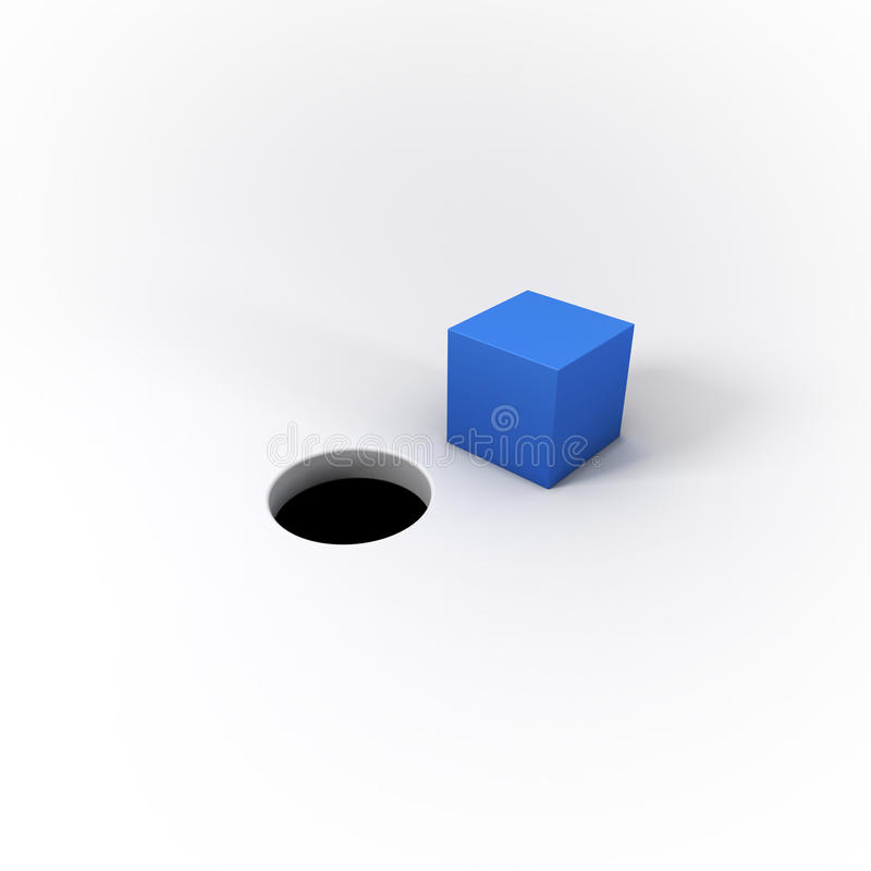 Peg quadrado azul ilustrado 3D e um furo redondo em um Whit brilhante ilustração stock
