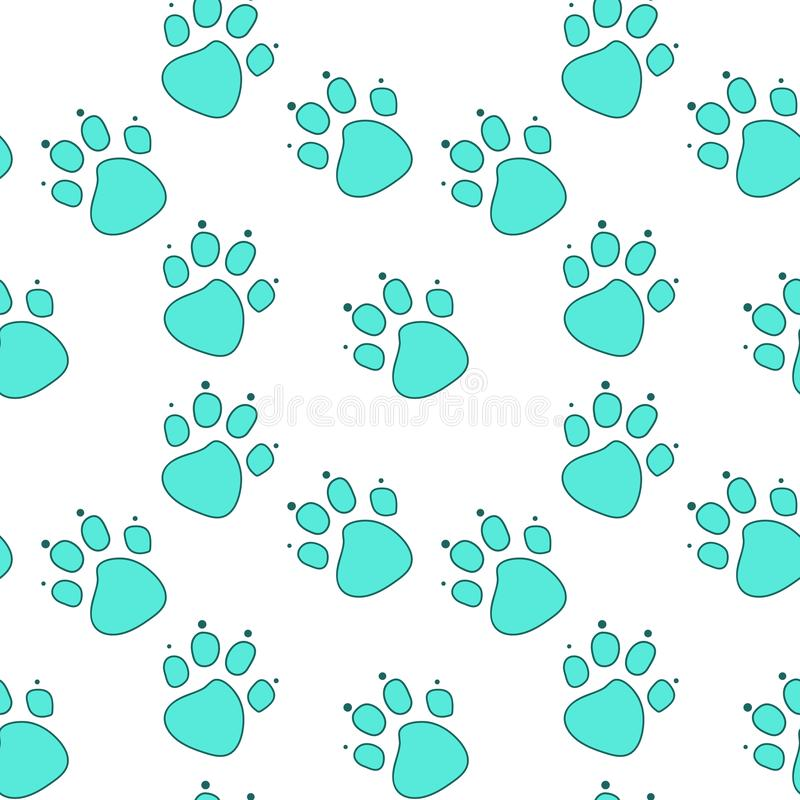 Pegada abstrata do gato azul no esboço de turquesa no fundo branco ilustração royalty free
