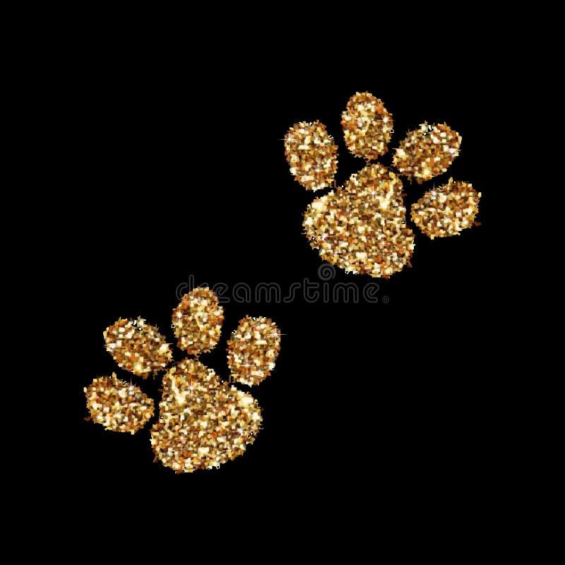 Pegada animal do brilho do ouro no fundo Ilustração do vetor Art Icon Conceito criativo para a Web, confete claro do fulgor ilustração stock