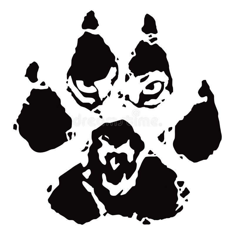 Pegada, cópia da pata do lobo ilustração do vetor