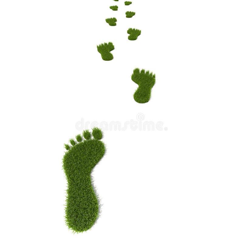 Pegada da grama ilustração stock