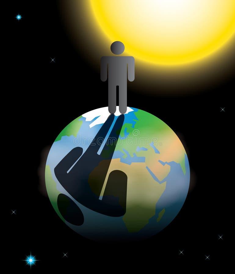 Pegada da população humana na terra do planeta ilustração do vetor