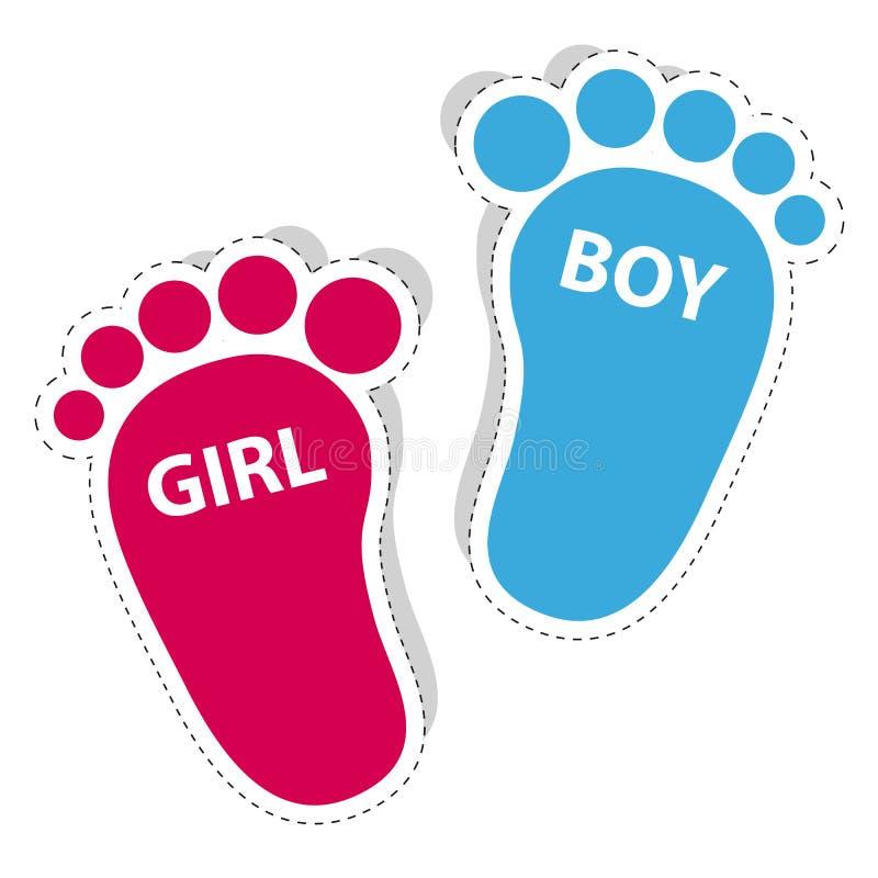 Pegada do bebê - ícones do esboço da menina e do menino com sombra ilustração royalty free