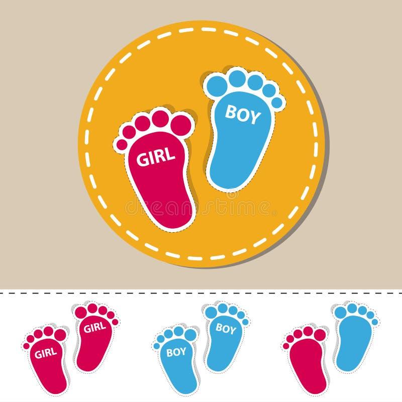 Pegada do bebê - ícones do esboço da menina e do menino com sombra - ilustração colorida do vetor - isolada no branco ilustração royalty free
