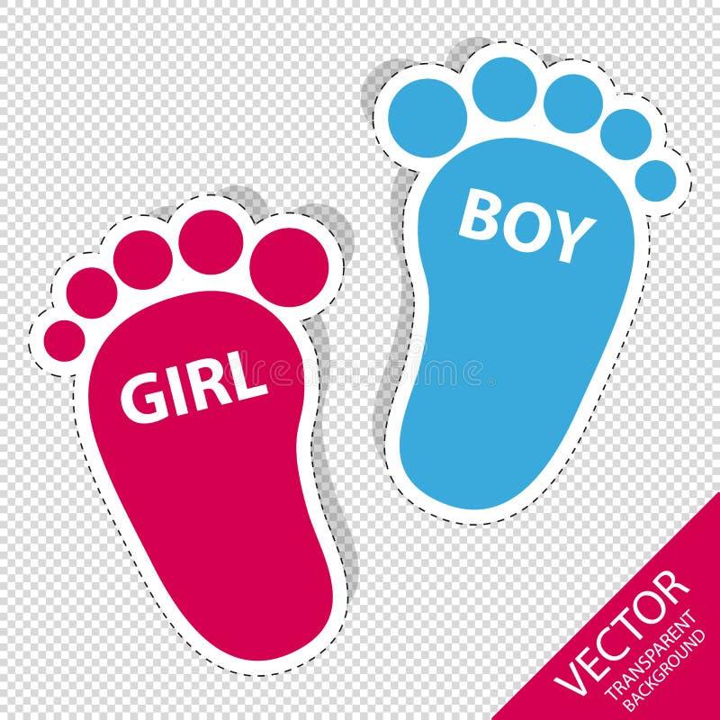 Pegada do bebê - ícones do esboço da menina e do menino com sombra - isolada no fundo transparente ilustração do vetor