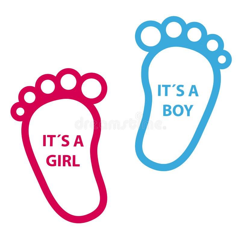 Pegada do bebê sua uma menina, sua um menino - ícones do vetor ilustração stock