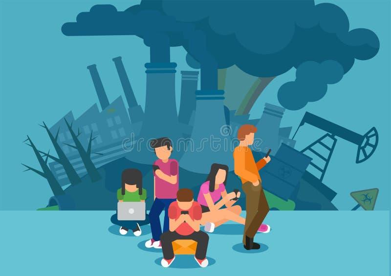 Pegada do carbono do conceito do Internet ilustração royalty free