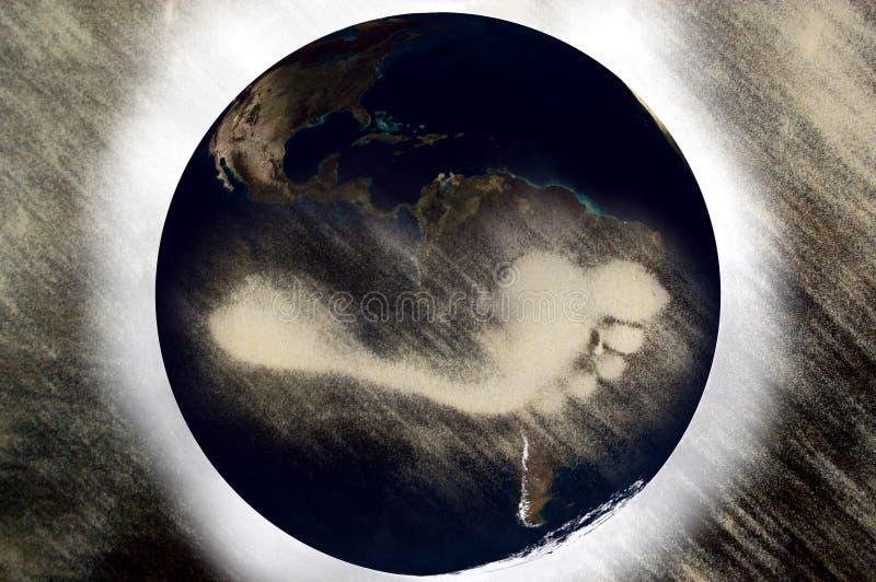 Pegada do carbono no planeta ilustração royalty free