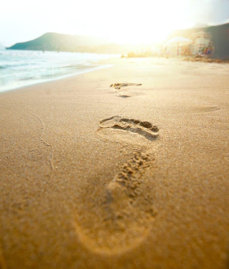 Pegada na areia da praia no ângulo largo foto de stock
