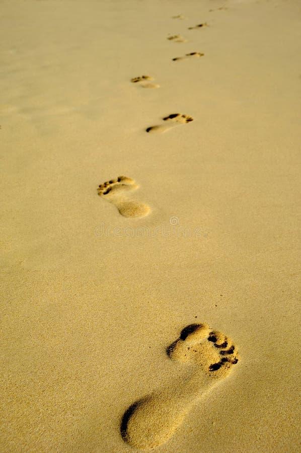 Pegada na areia na praia fotografia de stock