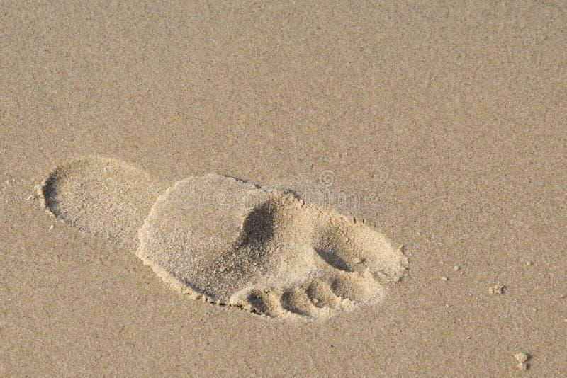 Pegada na foto da praia Imagem bonita, fundo, wal fotografia de stock